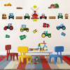 Colourful farm tractor stickers wall art stuck on playroom wall.