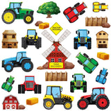 Wall sticker set depicts colourful farm tractors heading all directions, include farm building, windmill on white background.