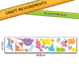 Picture depicts sheet measurements for the medium wall sticker set.