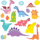 Cute dinosaur wall stickers depicts 9 smiley colourful dinosaurs with dino  friends, clouds, dino eggs on white background.
