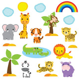 Safari jungle wall sticker scene, cute monkey, zebra, lion an giraffe. All smiling an looking playful on white background.