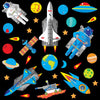 Space wall sticker set depicts blue astronauts, stars, moon buggy floating around earth in space on black background.