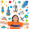 Space wall sticker set depicts blue astronauts, stars, moon buggy floating around earth in space on toddlers wall.