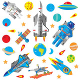 Space wall sticker set depicts blue astronauts, stars, moon buggy floating around earth in space on white background.