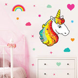 Unicorn wall stickers set has a unicorn with bright disco colour hair, placed among stars an rainbows on a wall above draws.