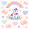 Unicorn wall stickers set depicts dreamy teddy bear unicorn sitting on clouds among stars an rainbows on pink background.