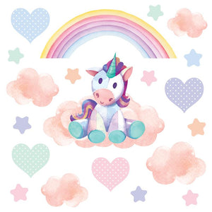 Unicorn wall stickers set depicts dreamy teddy bear unicorn sitting on clouds among stars an rainbows on white background.