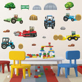 Farmyard tractor wall sticker decal stuck on nursery wall.