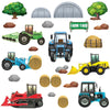 Wall sticker set depicts a busy farmyard with red, green blue tractors collecting bails an moving stones on white background.