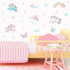 Unicorn wall stickers set depicts butterfly styled unicorns flying among stars, rainbows an butterflies on bedroom wall.