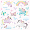 Unicorn wall stickers set depicts butterfly styled unicorns flying among stars, rainbows an butterflies on pink background.