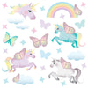Unicorn wall stickers set depicts butterfly styled unicorns flying among stars, rainbows an butterflies on white background.