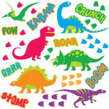 Dinosaur wall sticker set depicts 6 bright dinosaurs, stomp foot prints, roar text speech bubbles on white background.