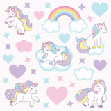 Unicorn wall sticker set depicts pastel coloured unicorns galloping among stars, clouds, rainbows on pink background.