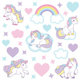 Unicorn wall sticker set depicts pastel coloured unicorns galloping among stars, clouds, rainbows on white background.
