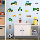 Tractor wall stickers stuck on boy bedroom wall above toy cupboard. Room has a blue theme.