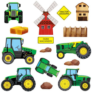 Wall sticker set depicts six green farm tractors, rocks, windmill, fences, bails an a wooden farm house on white background.