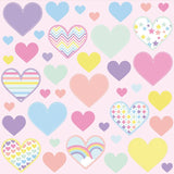 Heart wall stickers set depicts 41 rainbow pastel heart designs, 3 different sizes of hearts in set on pink background.