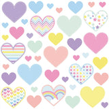 Heart wall stickers set depicts 41 rainbow pastel heart designs, 3 different sizes of hearts in set on white background.