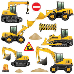 Construction wall stickers set depicts six yellow transport diggers moving sand among busy building site on white background.