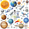 Space set depicts astronauts on earth with solar system planets orbiting. All wall stickers shown on white background.