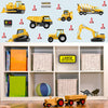 Digger wall vinyl wall stickers stuck on blue playroom wall above toy cupboard L.