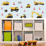 Digger wall vinyl wall stickers stuck on blue playroom wall above toy cupboard M.
