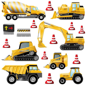Both the medium an large digger wall stickers sets include seven yellow diggers an 9 red cones on white background.