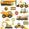 Depicts busy construction digger wall stickers scene with yellow digger, mixers, bulldozers, safety sign on white background.