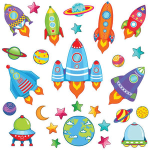 Bright colouful space wall sticker scene made up of coloured rockets, star, planets orbiting earth on white background.