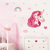 Unicorn wall stickers set has a pink curly long haired unicorn among stars, hearts, rainbows on a wall above draws.