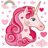 Unicorn wall stickers set has a pink curly long haired unicorn among stars, hearts, rainbows on white background.