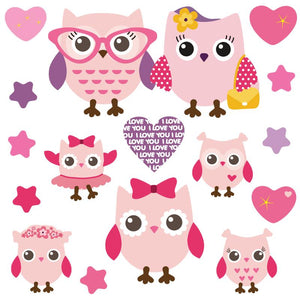 Pink purple themed owl wall sticker set depict group of mummy, daddy, baby owls among stars an hearts on white background.