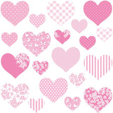This heart wall stickers set depicts 20 pink heart designs, 2 different sizes in set on white background.