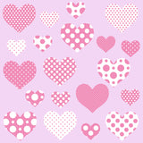 Heart wall sticker set depicts 20 pink an white polka dot heart designs, 2 different sizes in set, on pink background.