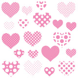 Heart wall sticker set depicts 20 pink an white polka dot heart designs, 2 different sizes in set, on white background.