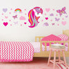 Unicorn wall stickers set has a unicorn with bright pink long hair. Unicorn is  among stars rainbows on a bedroom wall.
