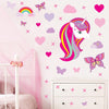 Unicorn wall stickers set has a unicorn with bright pink long hair. Unicorn is  among stars rainbows on a wall above draws.