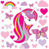 Unicorn wall stickers set has a unicorn with bright pink long hair. Unicorn is  among stars rainbows on white background.