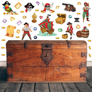 Pirate wall stickers set depicts skulls, treasure, gems, pirate ship, scary cartoon looking pirates on white background.