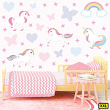 Unicorn wall stickers set has a family of playful unicorns playing among stars, hearts an rainbows on a bedroom wall XXL.
