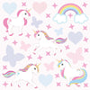 Unicorn wall stickers set has a family of playful unicorns playing among stars, hearts an rainbows on pink background.