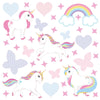 Unicorn wall stickers set has a family of playful unicorns playing among stars, hearts an rainbows on white background.