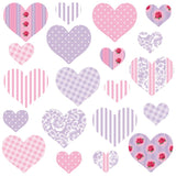 Heart wall stickers set depicts 20 pink purple heart designs, 2 different sizes in set on white background.