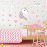 Unicorn wall sticker set depicts rainbow colour haired unicorn among rainbows, stars an clouds on a bedroom wall L.