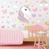 Unicorn wall sticker set depicts rainbow colour haired unicorn among rainbows, stars an clouds on a bedroom wall XL.