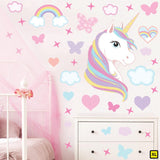 Unicorn wall sticker set depicts rainbow colour haired unicorn among rainbows, stars an clouds on a wall above draws XL.