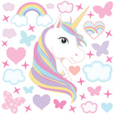 Unicorn wall sticker set depicts rainbow colour haired unicorn among rainbows, stars an clouds on white background.