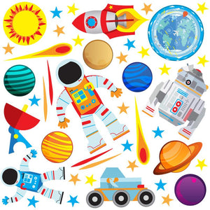 Space wall sticker set depicts red blue astronaut returning to earth orbiting earth with stars on white background.