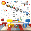 Colourful space set depicts shuttle, astronaut, planets orbiting earth. Wall stickers stuck on kids playroom wall.